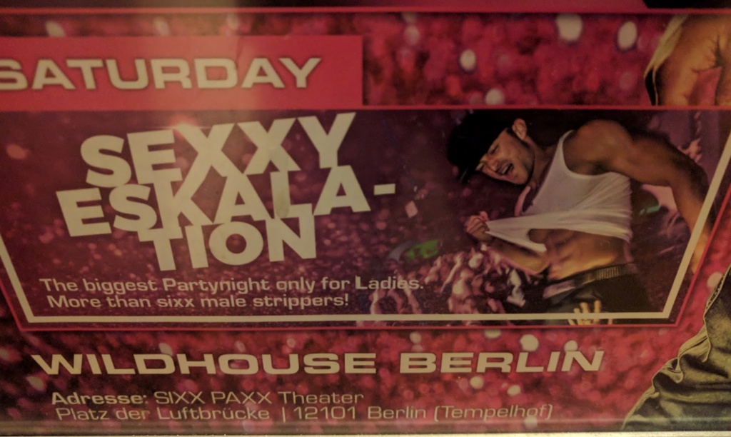 "The pre-race entertainment advertised near my hotel. I might have gone, but asked myself ""What would Kipchoge do?"" and the answer definitely wasn't ""Visit SEXXY ESKALATION the night before a race""."